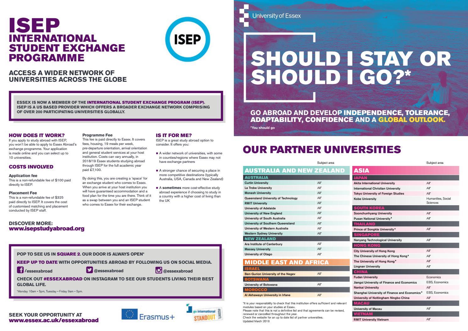 Partner universities of the University of Essex by