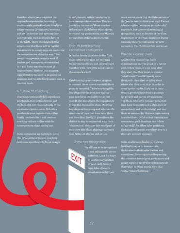 Page 17 of The Sophomore Junior Curse: How to retain Sales Reps in years 2\u20133