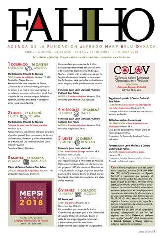 Agenda de abril 2018 FAHHO by Fundación Alfredo Harp Helú Oaxaca - issuu