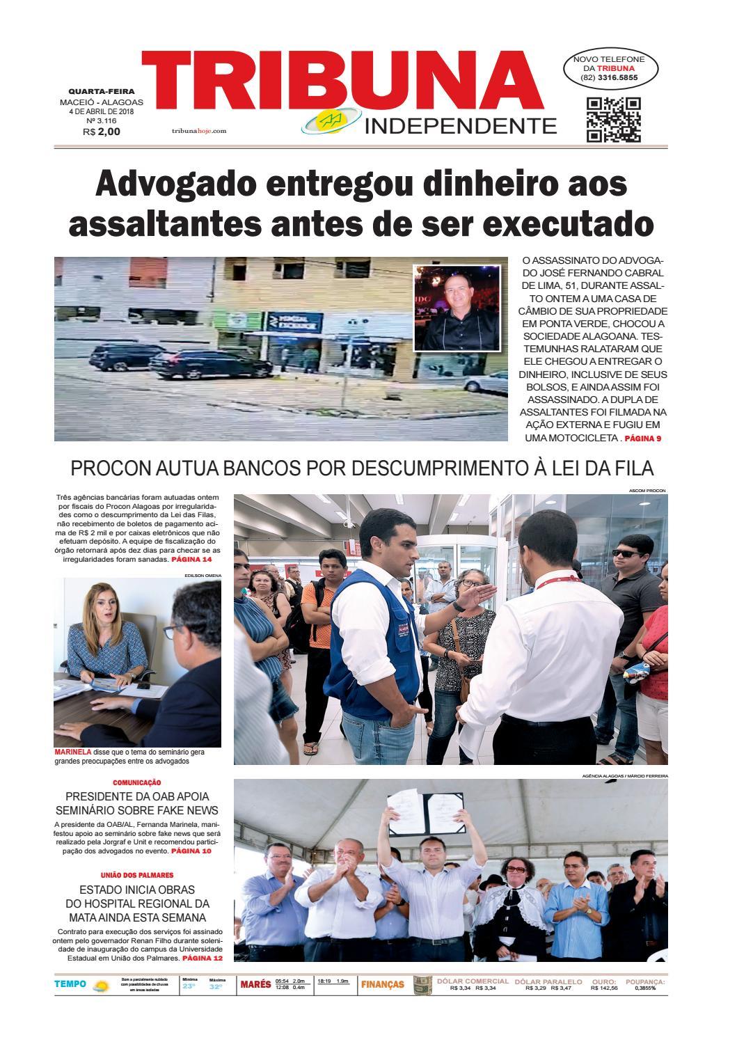 Edição número 3116 - 4 de abril de 2018 by Tribuna Hoje - issuu befe350275eb3