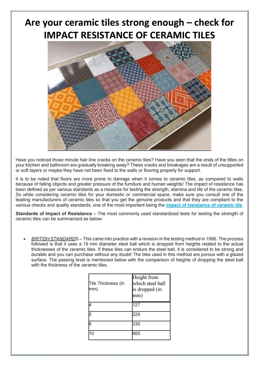 Are your ceramic tiles strong enough by EIE Instruments - issuu