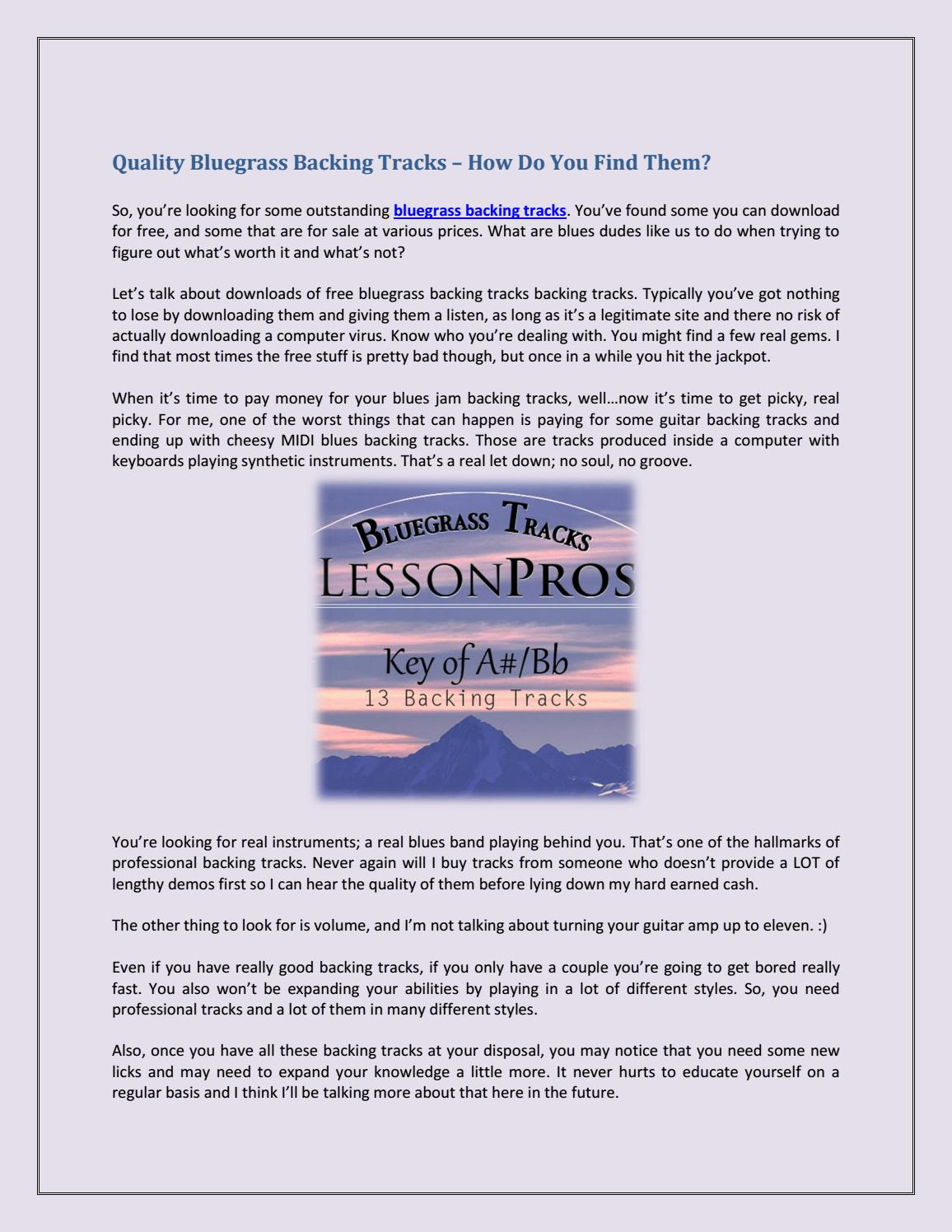 Quality Bluegrass Backing Tracks – How Do You Find Them? by