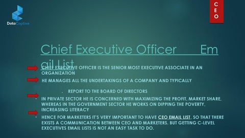 CEO Email List | CEO Mailing List | CEO Addresses List | Chief