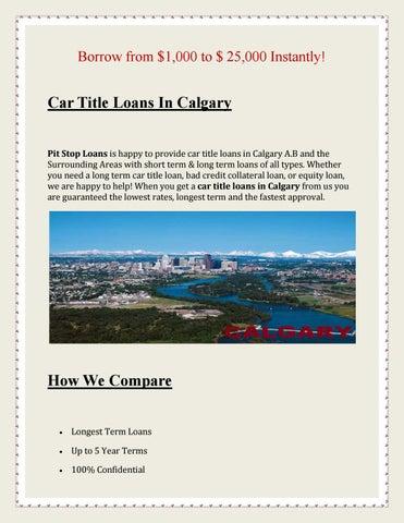 No Credit Check Car Loans >> Bad Credit Car Loans Calgary No Credit Check By Pit Stop