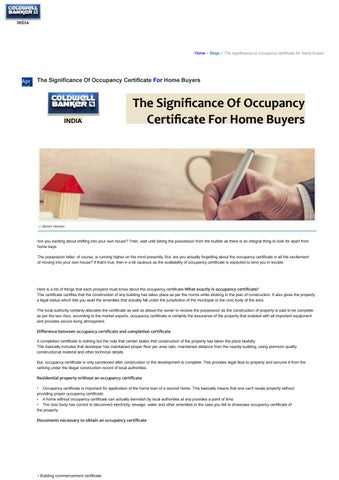 The Significance Of Occupancy Certificate For Home Buyers by ...