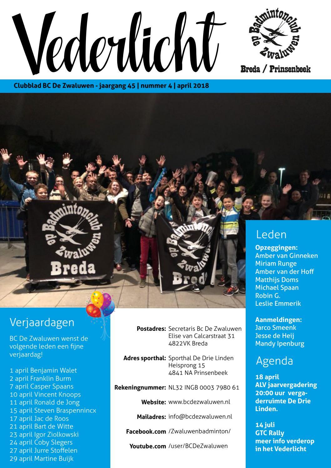 Vederlicht April 2018 By Bc De Zwaluwen Issuu