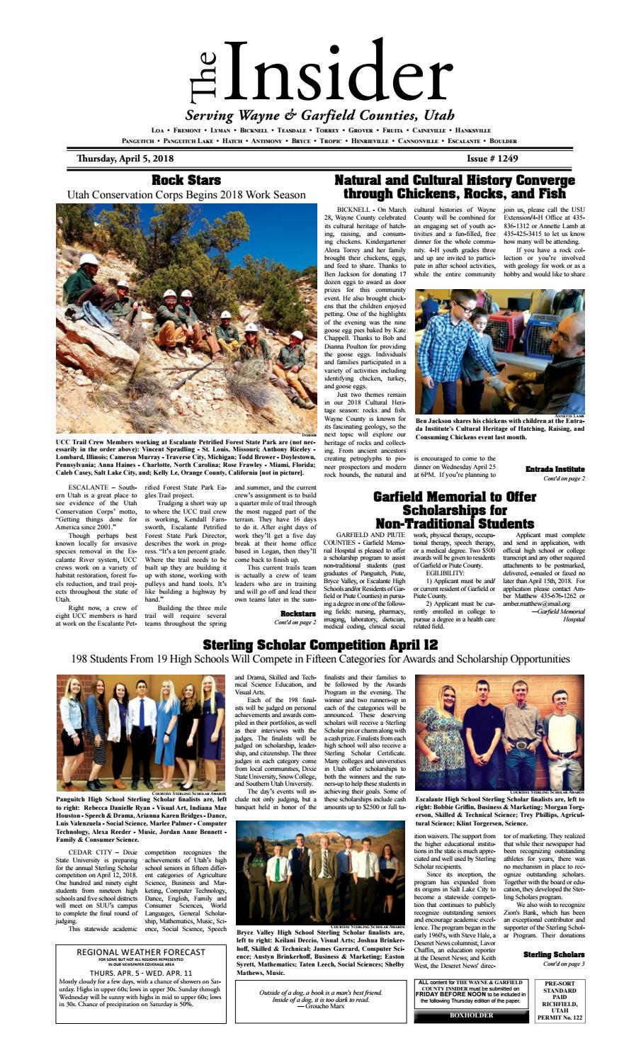 The Wayne & Garfield County Insider April 5, 2018 by