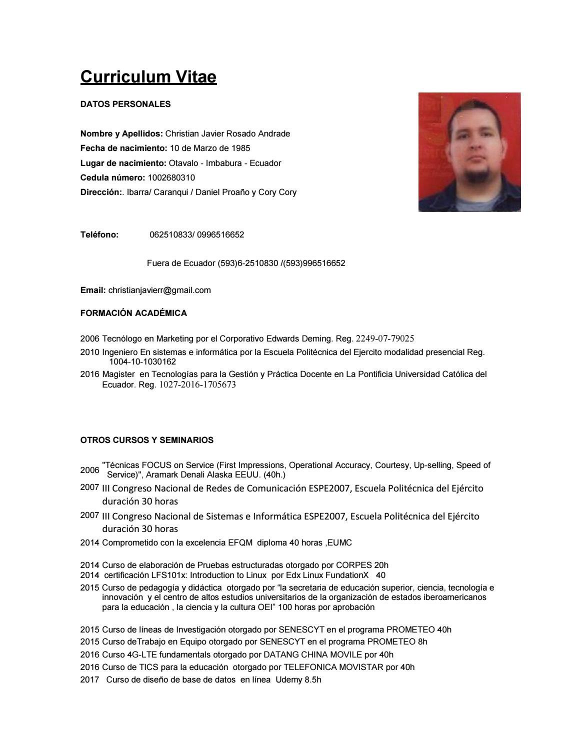 Curriculum vitae christian rosado 2018 by Christian Rosado - issuu