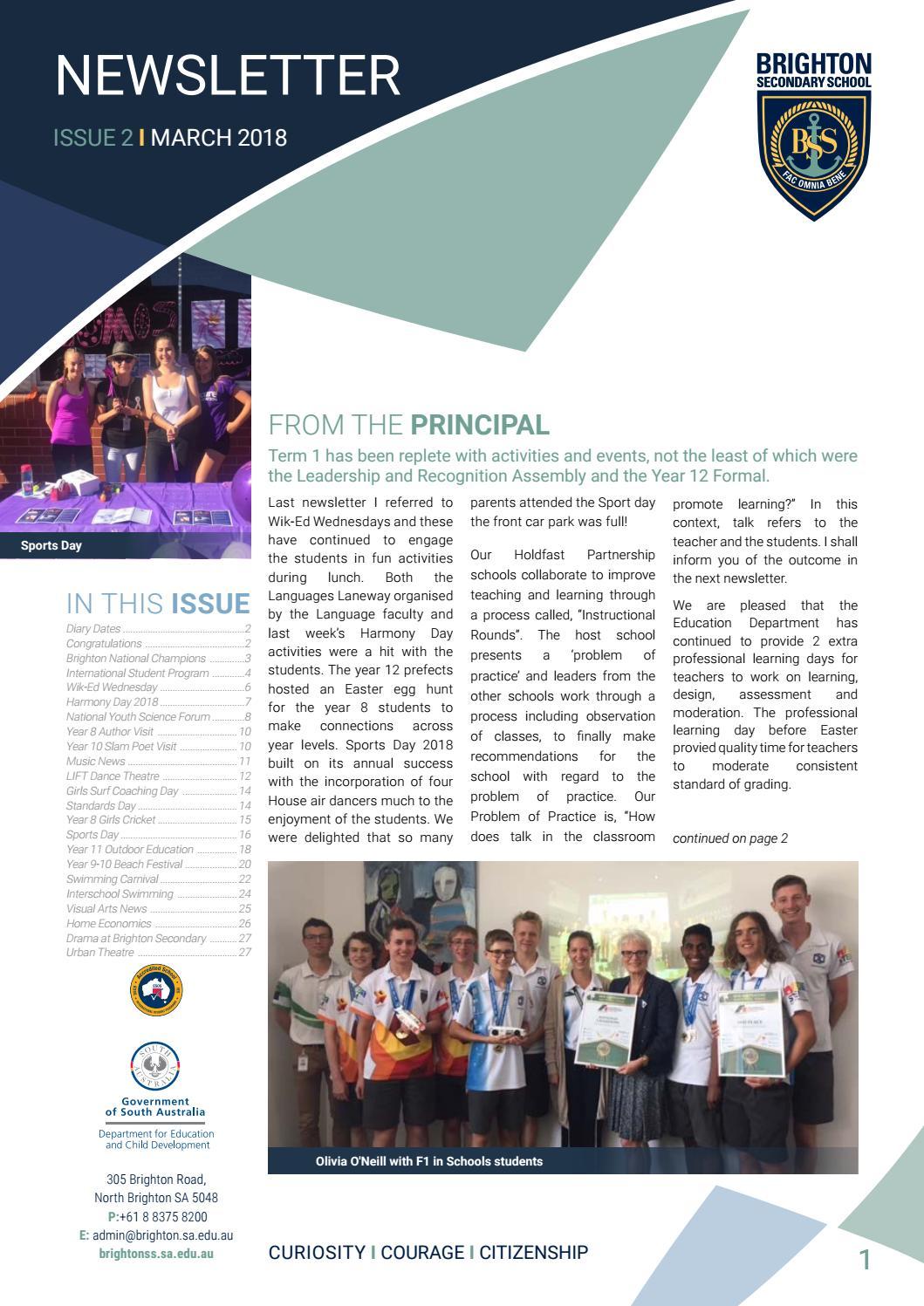 Brighton Secondary School Newsletter March 2018 by Brighton