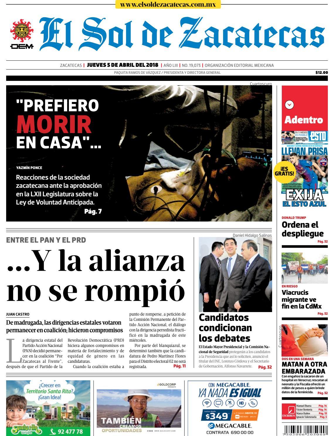 54e2fd86127 El Sol de Zacatecas 5 de abril 2018 by El Sol de Zacatecas - issuu