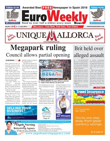 Euro weekly news mallorca 5 march 11 april 2018 issue 1709 by page 1 fandeluxe Image collections