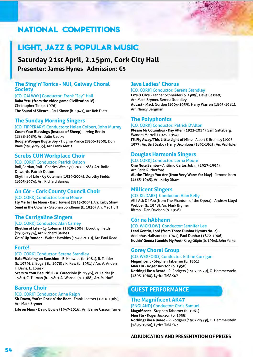 Cork International Choral Festival - 2018 Programme by Cork