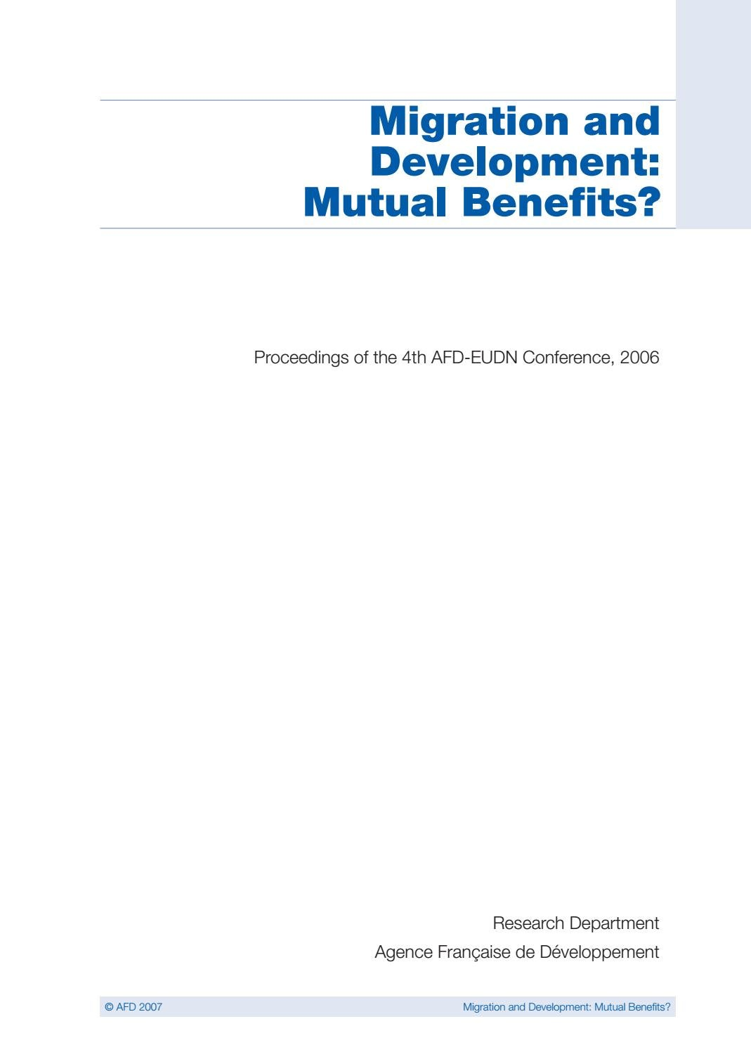 Migration and Development: Mutual Benefits? Proceedings of the 4th