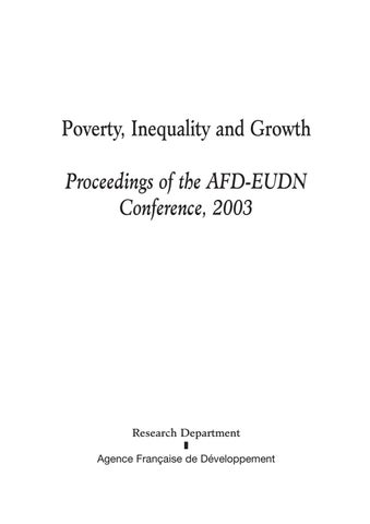 d5067e3252177 Poverty, Inequality and Growth Proceeding of the AFD-EUDN Conference ...