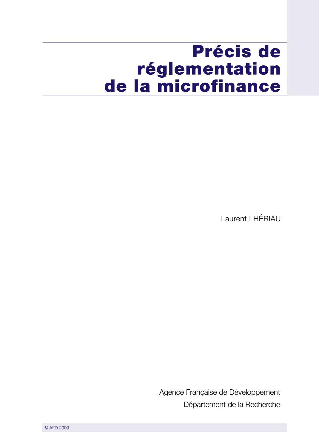 Precis De Reglementation De La Microfinance By Agence Francaise De