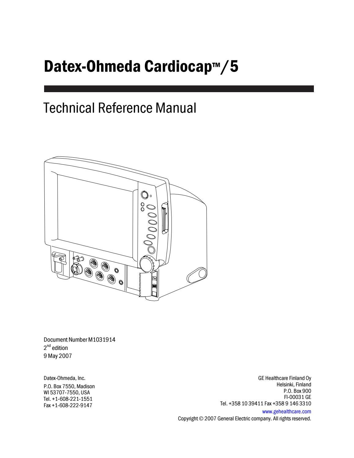 Datex ohmeda cardiocap 5 service manual (2007) by Guillermo Cervantes Gomez  - issuu