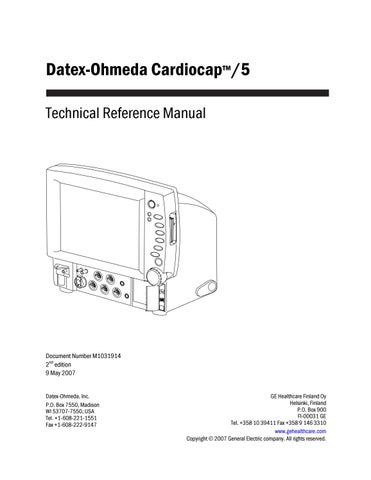 Datex Ohmeda Cardiocap 5 Service Manual 2007 By Guillermo