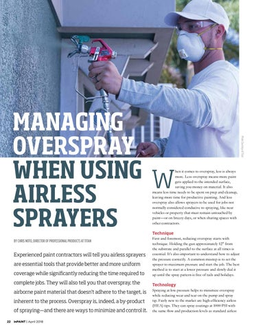 Page 22 of Managing overspray when using airless sprayers