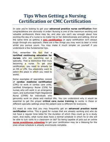 Tips When Getting a Nursing Certification or CMC Certification by ...
