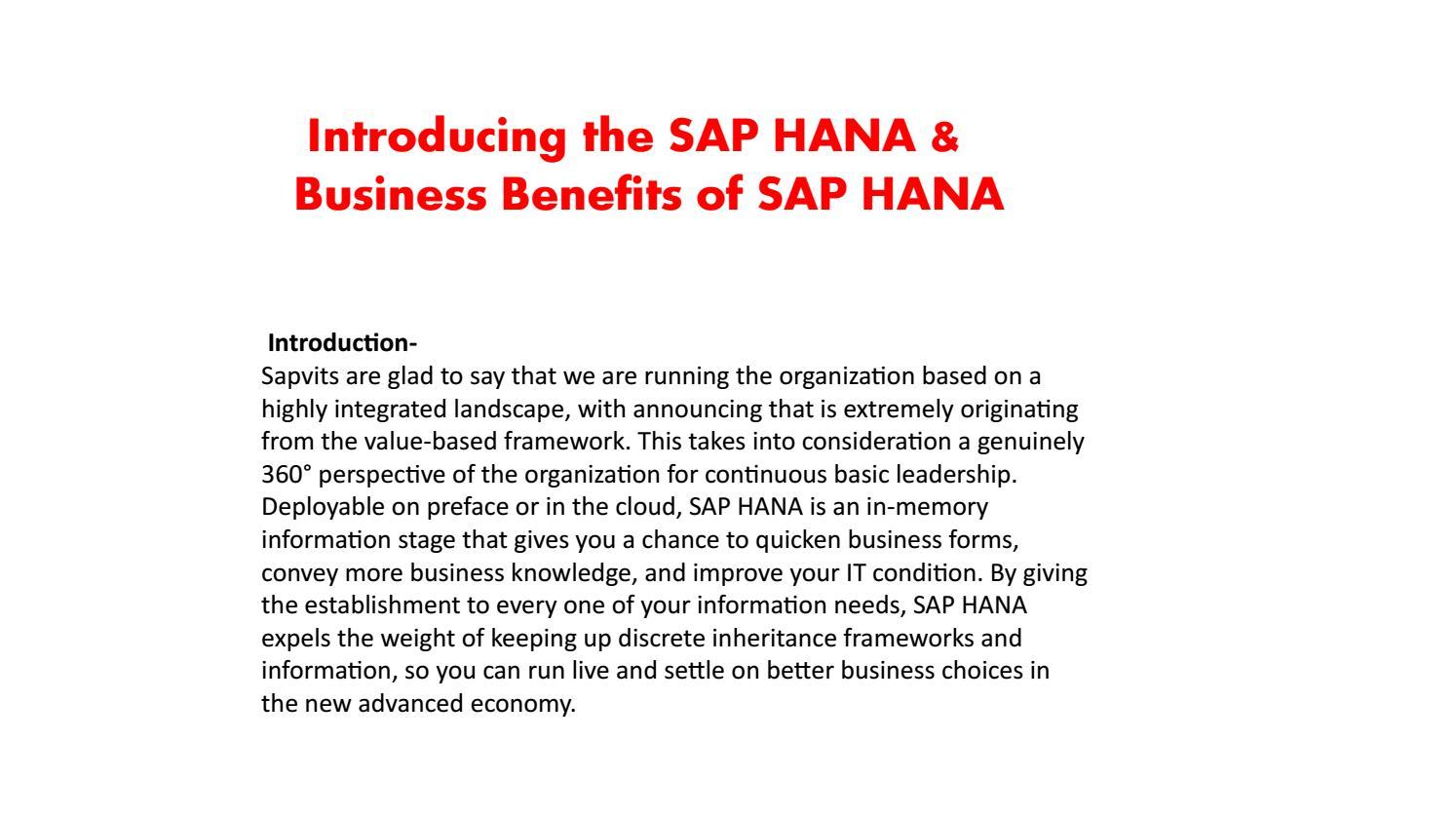 SAP HANA Basics PPT by shruti allentics - issuu