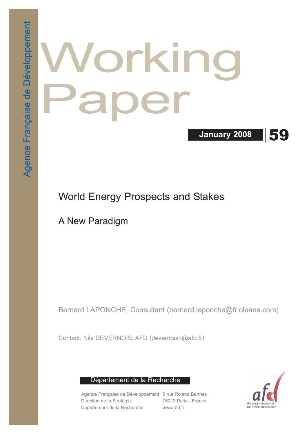 World Energy Prospects And Stakes A New Paradigm By Agence Exploded Lighting Diagrams Prudential Industrial Franaise De Dveloppement Issuu