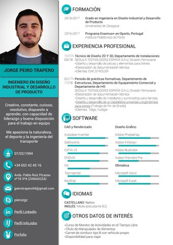 Curriculum Vitae Jorge Peiro Trapero By Pierozgz Issuu
