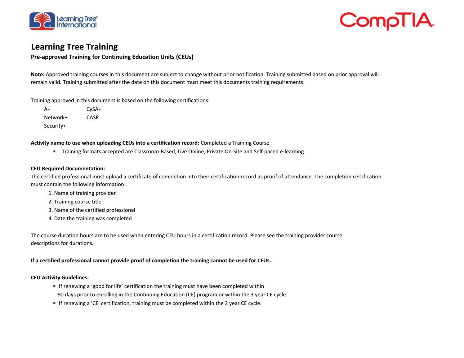 Learning Tree Training Pre Approved For Comptia Ceus By Learningtree