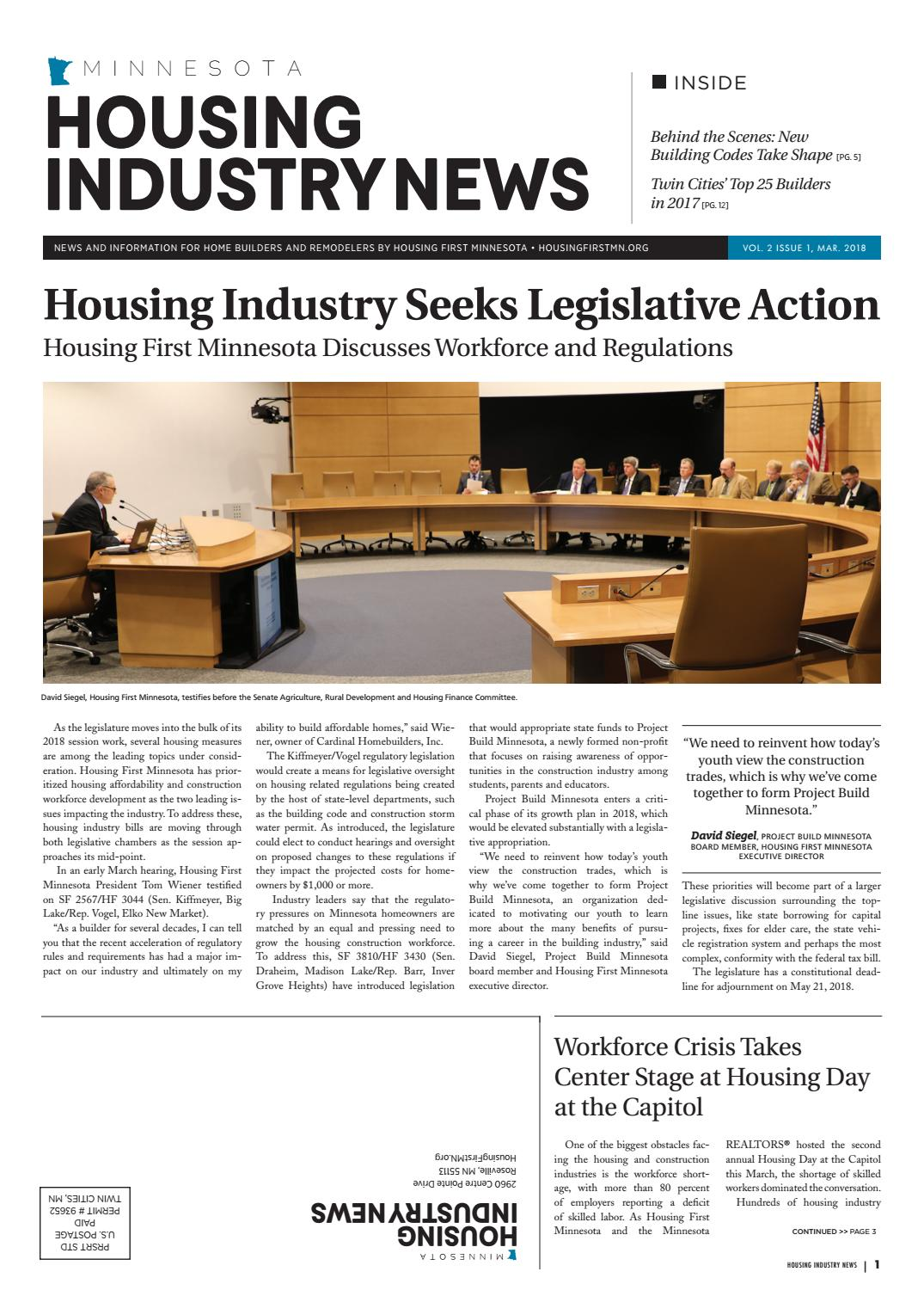 Housing Industry News Vol  2 Issue 1 - March 2018 by BATC