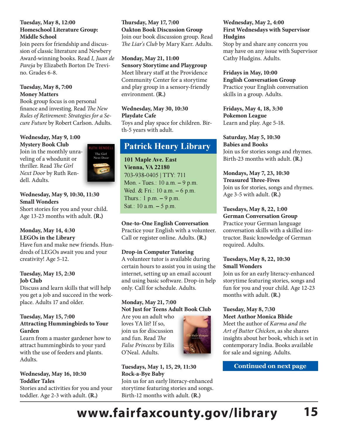 May 2018 Free Events Calendar
