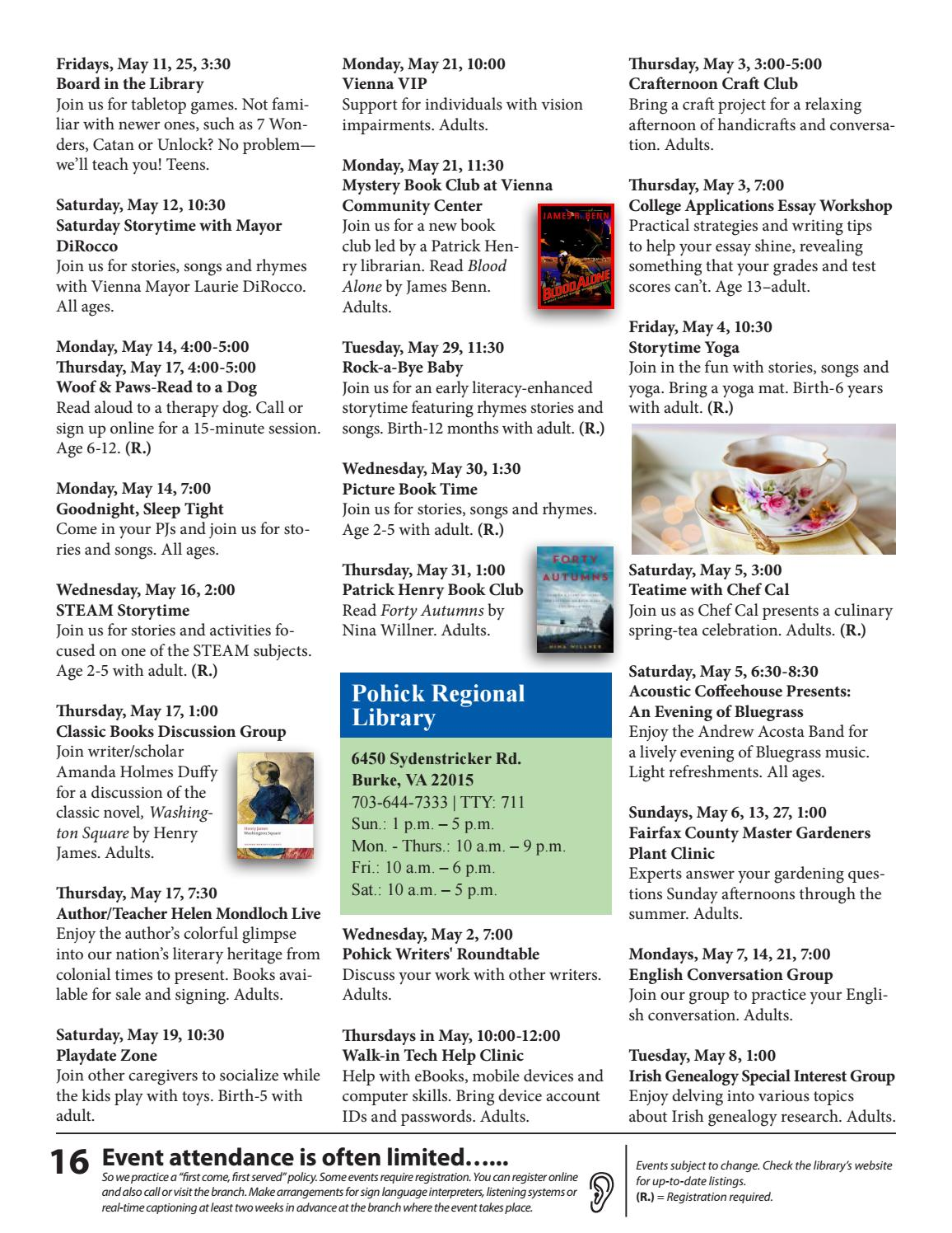 Free Talk Thursday May 14th In >> May 2018 Free Events Calendar By Fairfax County Public Library Issuu
