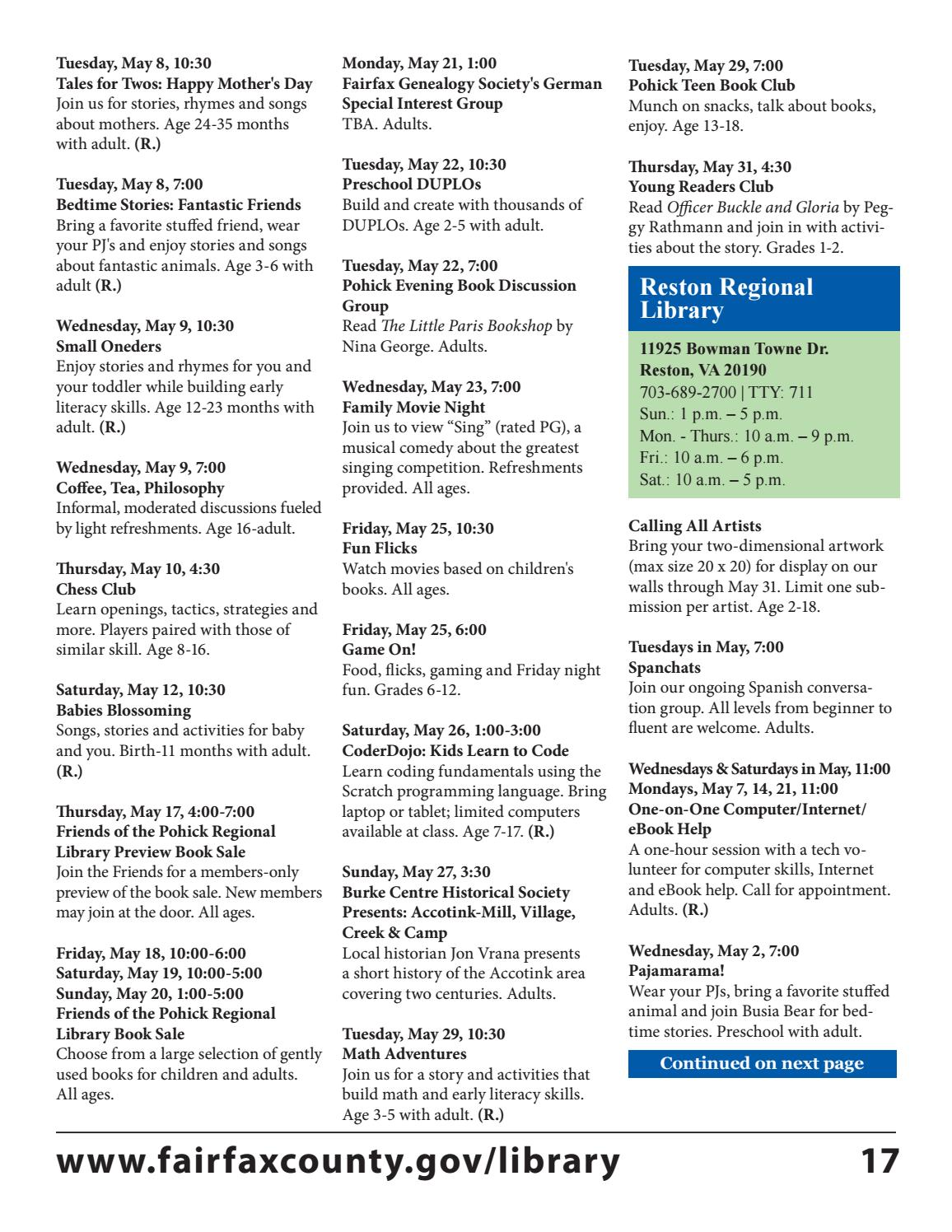 may 2018 free events calendarfairfax county public library - issuu