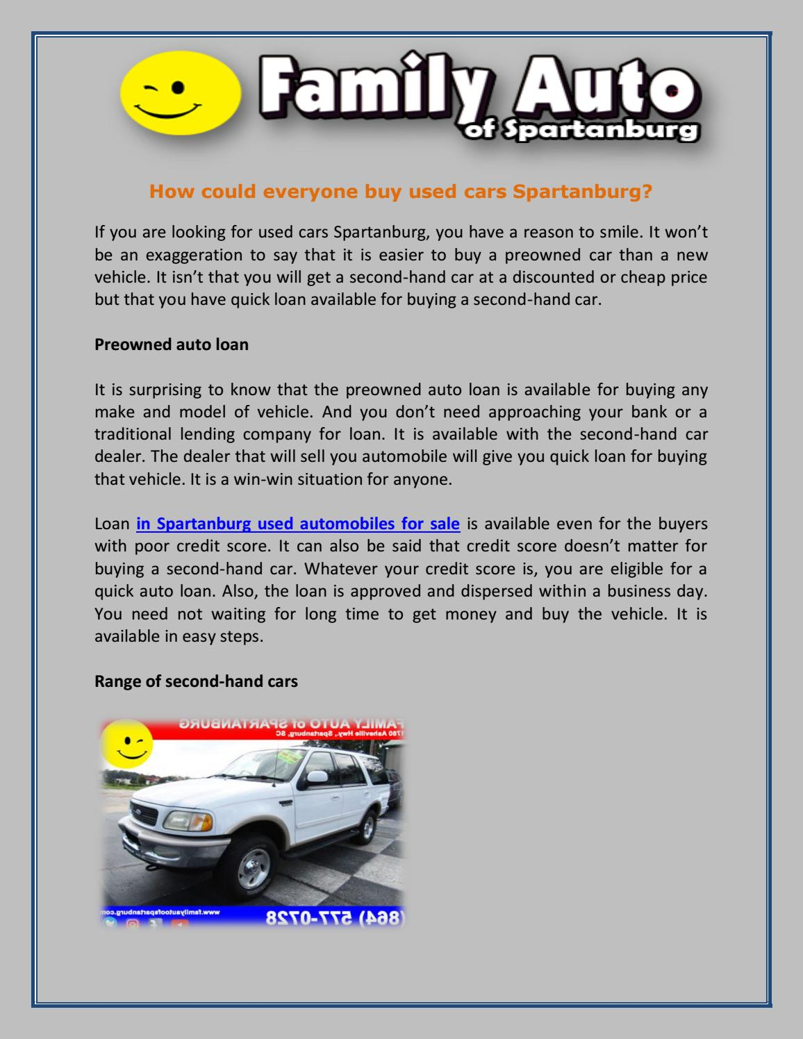 How could everyone buy used cars spartanburg (article) by Family Auto -  issuu