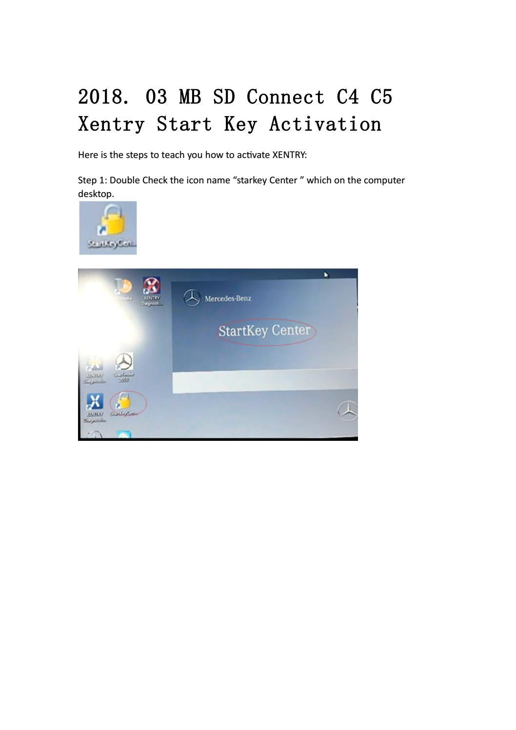 2018 03 mb sd connect c4 c5 xentry start key activation by