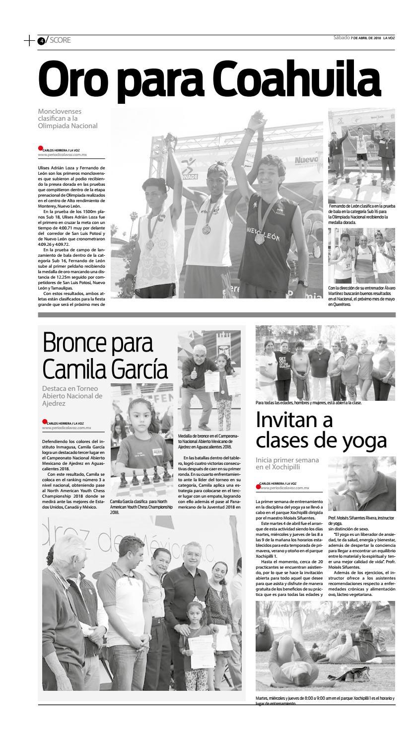 Periodico La Voz Edicion Del 07 De Abril Del 2018 By La Voz Monclova Issuu