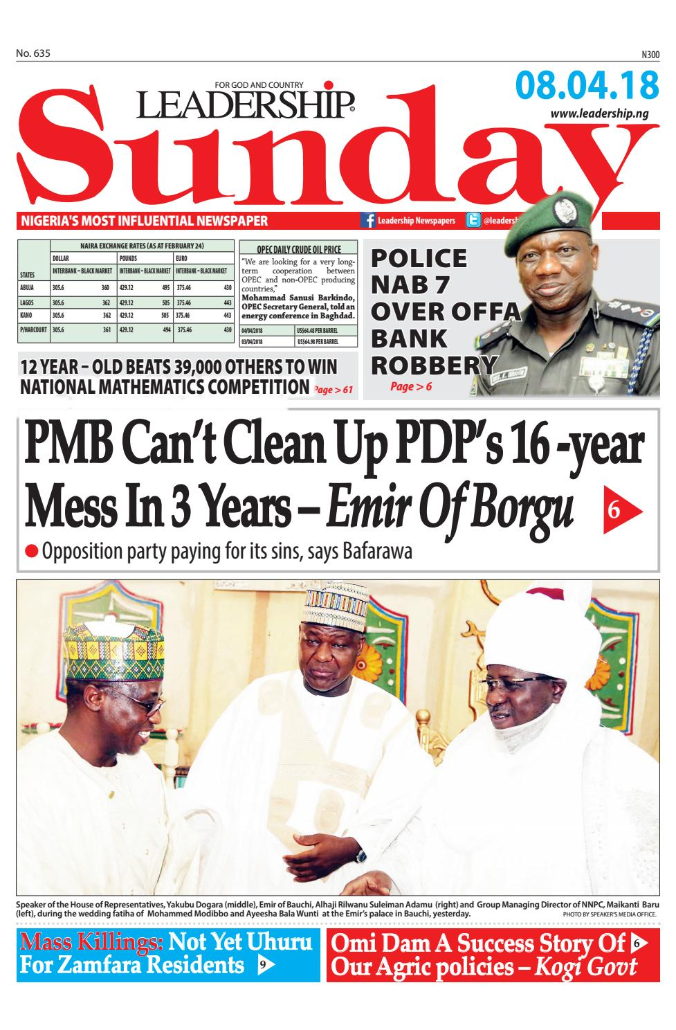 7195d96a367 Leadership Newspaper April 08 2018 by Leadership Newspapers Nigeria - issuu