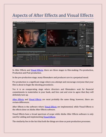 Aspects of After Effects and Visual Effects by MAAC Animation