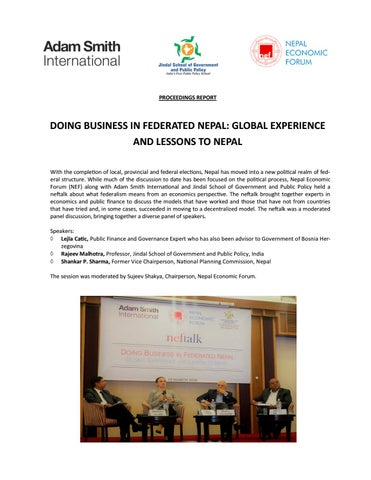 Doing Business in Federated Nepal - Global Experience & Lessons to Nepal