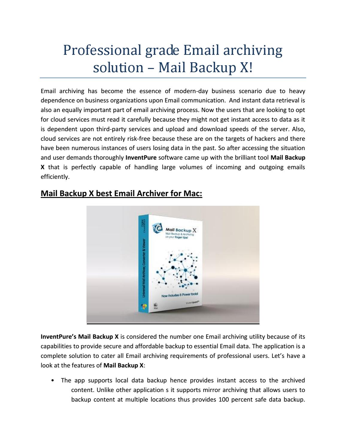 Professional grade email archiving solution – mail backup x