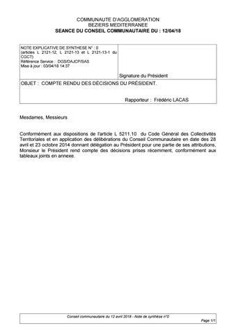 COMMUNAUTE D AGGLOMERATION BEZIERS MEDITERRANEE SEANCE DU CONSEIL  COMMUNAUTAIRE DU   12 04 18 37a5d42ef267