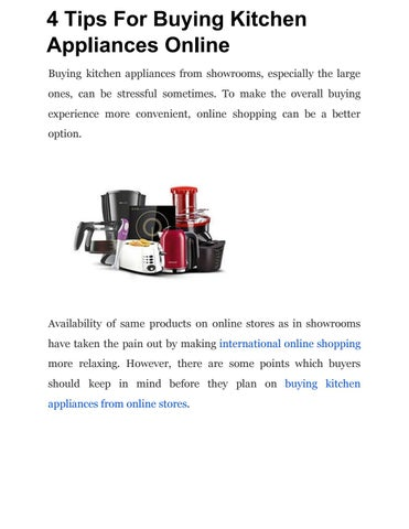 4 Tips For Buying Kitchen Appliances Online by Sunny Joe - issuu