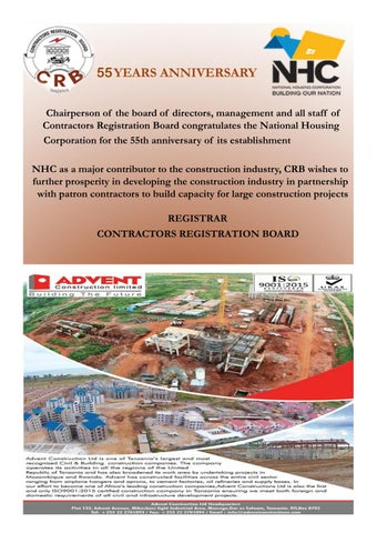 And All Staff Of Contractors Registration Board Congratulates The National Housing Corporation For 55th Anniversary Its Establishment NHC As A