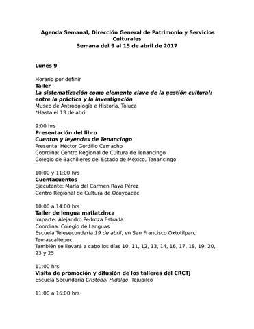 Agenda Del 9 Al 15 De Abril By Patrimonio Issuu