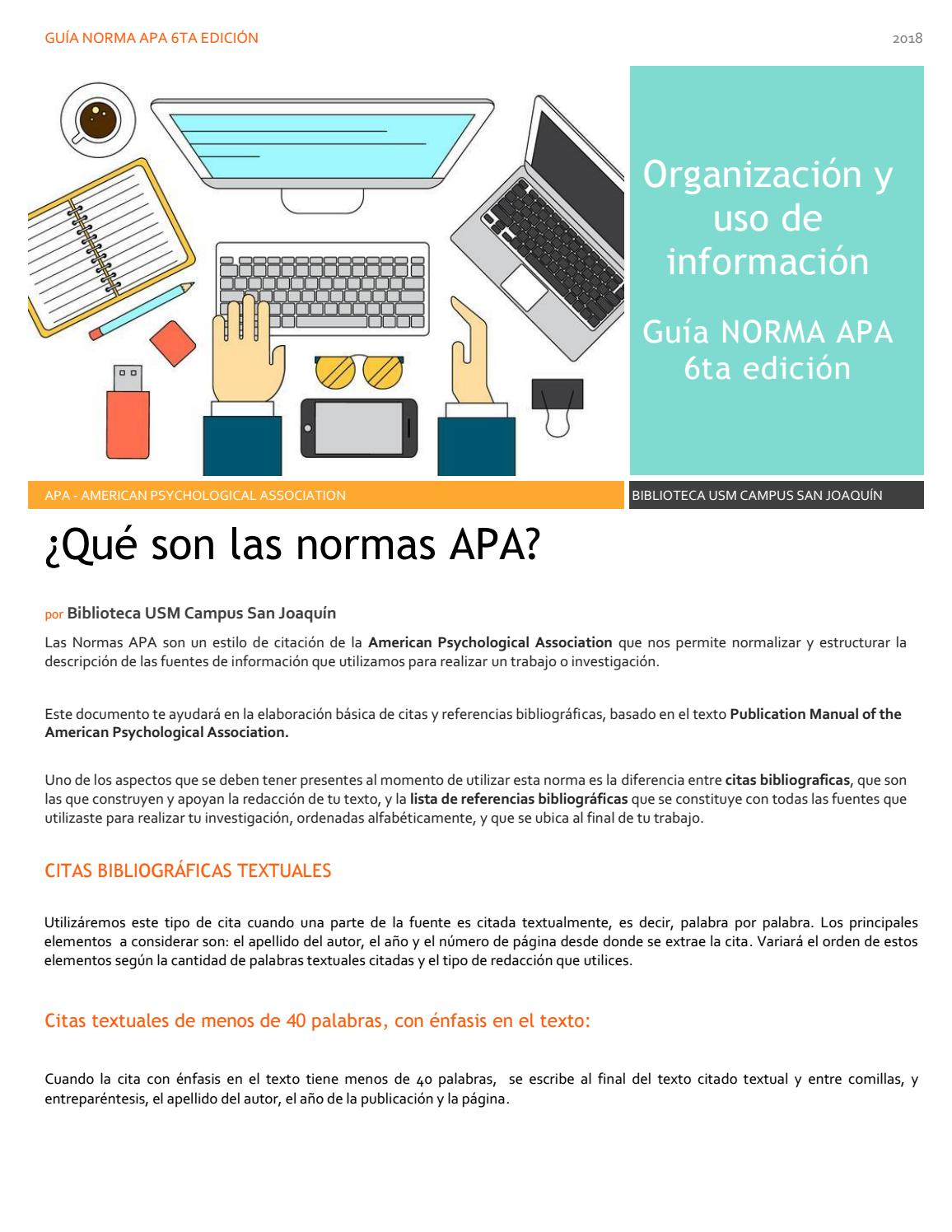 Organización Y Uso De Información Guía Norma Apa 6ta Ed