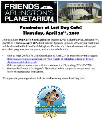 Friends of Arlington's Planetarium Lost Dog Fundraiser by