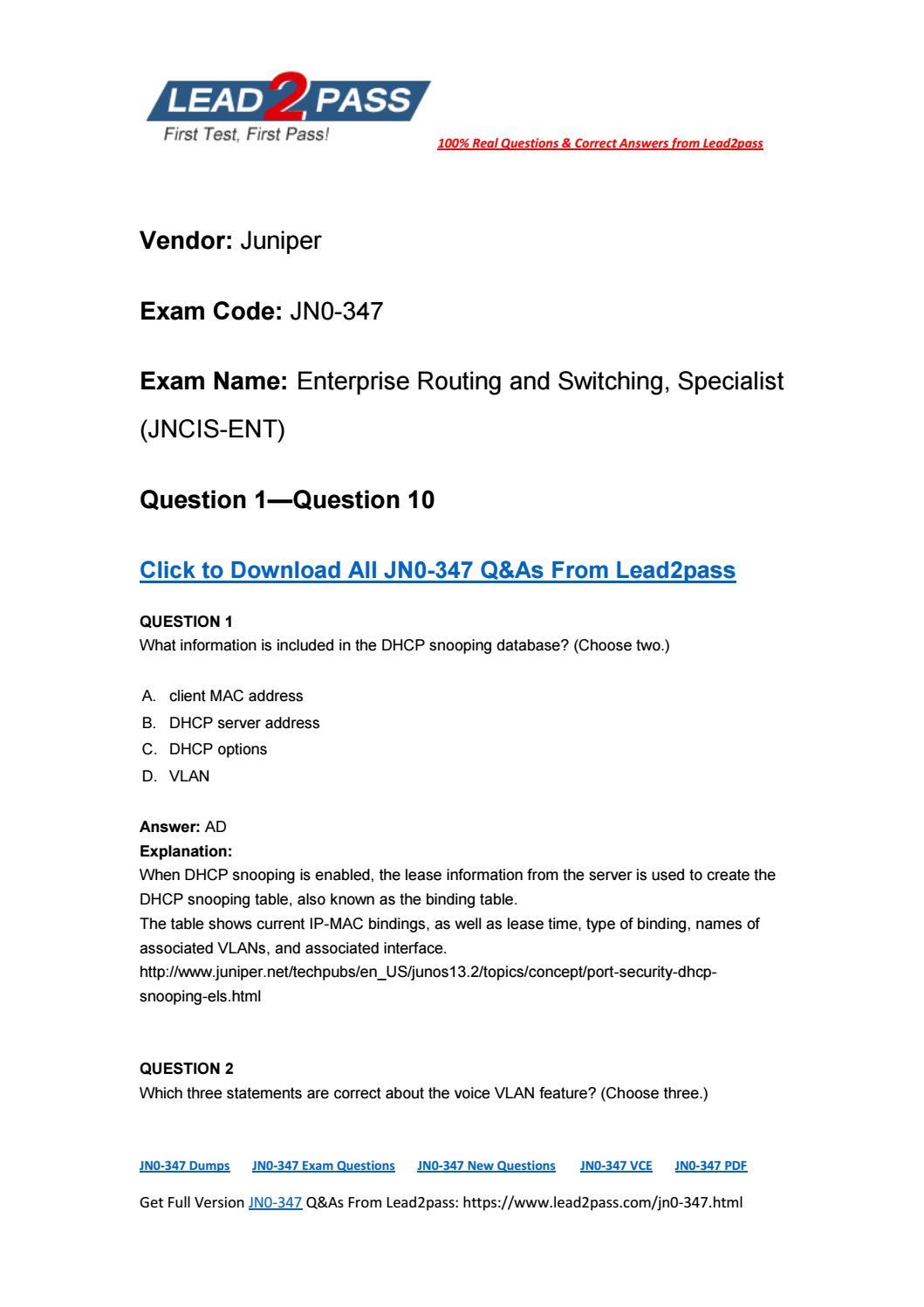 Lead2pass Free JN0-347 Exam Questions Download 100% Pass JN0