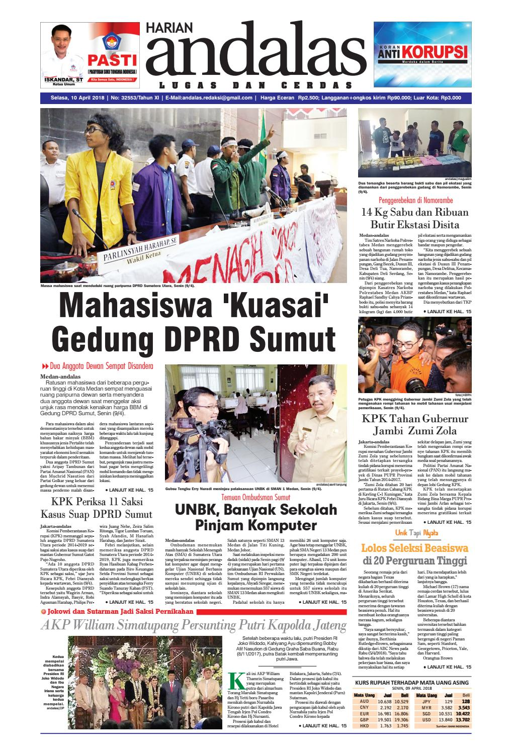 Epaper Andalas Edisi Selasa 10 April 2018 By Media Andalas