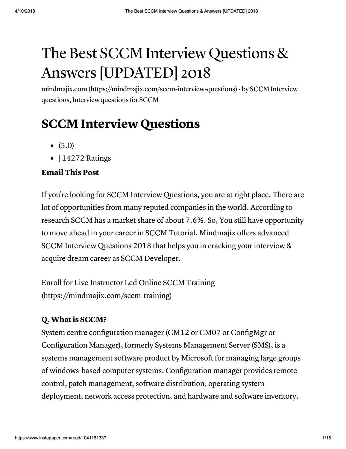 The best sccm interview questions & answers [updated] 2018
