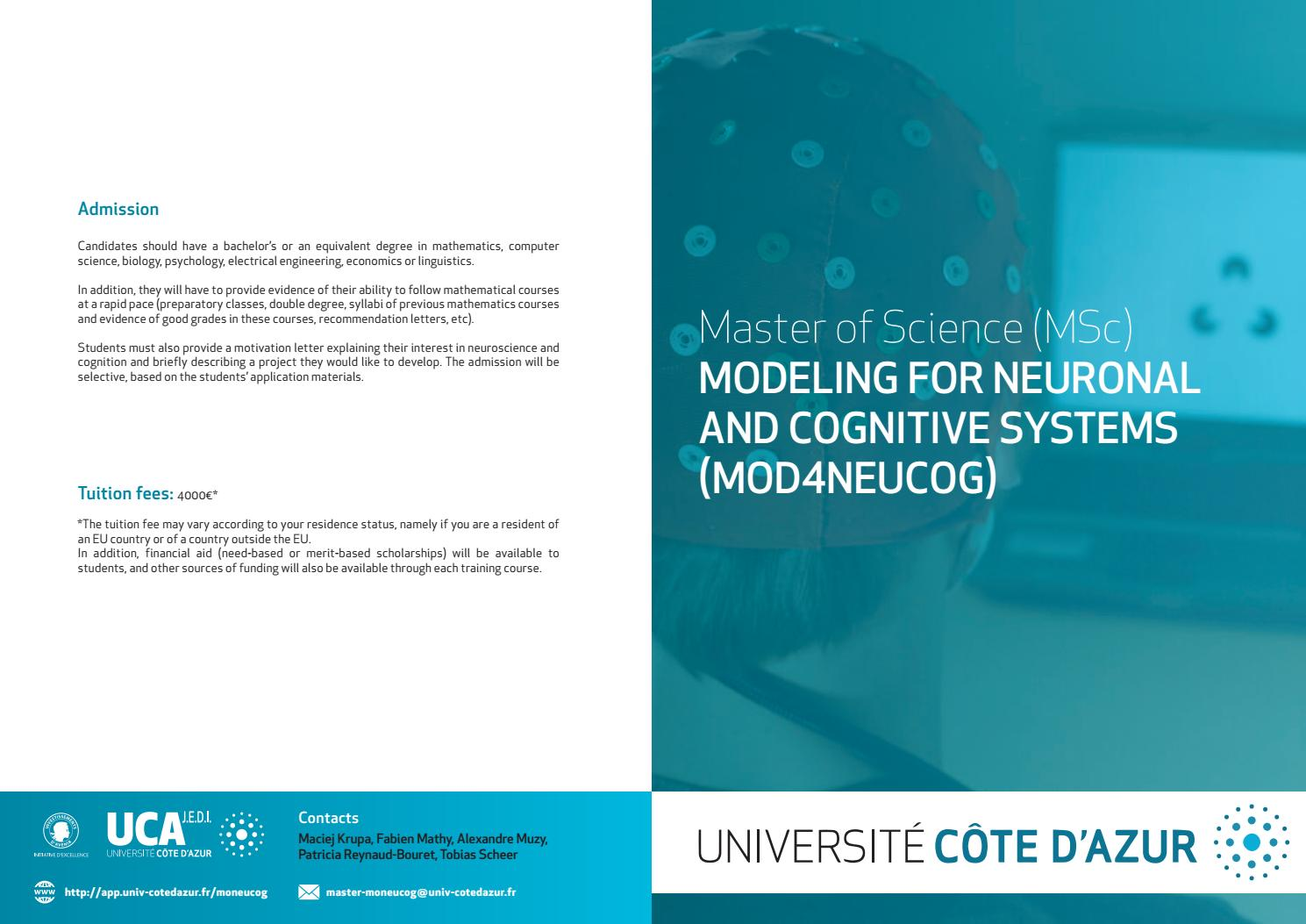 MSc MOD4NEUCOG - Modeling for neuronal and congnitive systems by