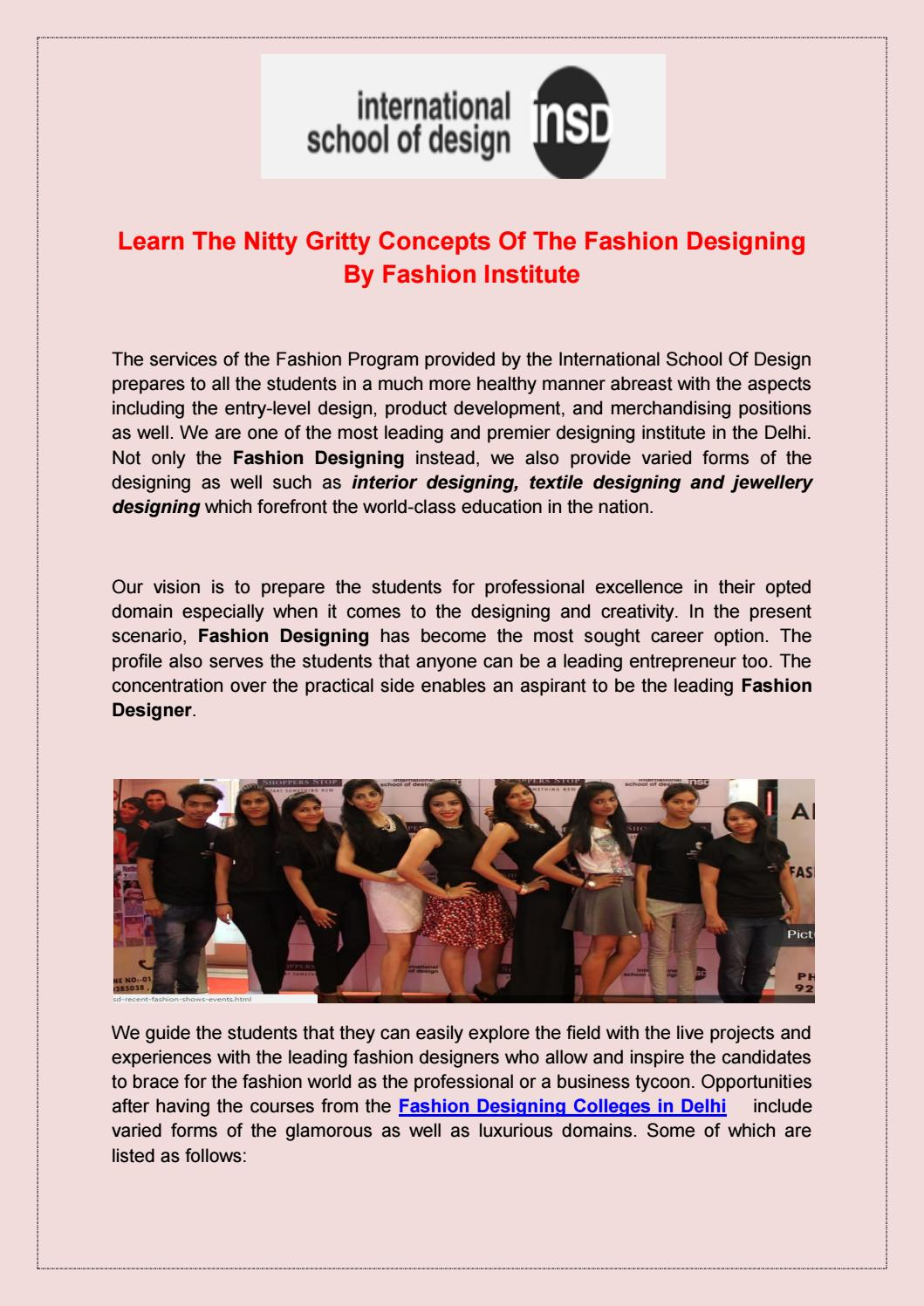 Learn The Nitty Gritty Concepts Of The Fashion Designing By Fashion Institute By Insd Paschim Vihar Issuu