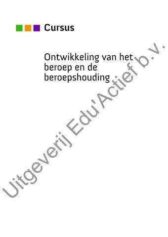 40948 Ontwikkeling Van Het Beroep En De Beroepshouding By Uitgeverij